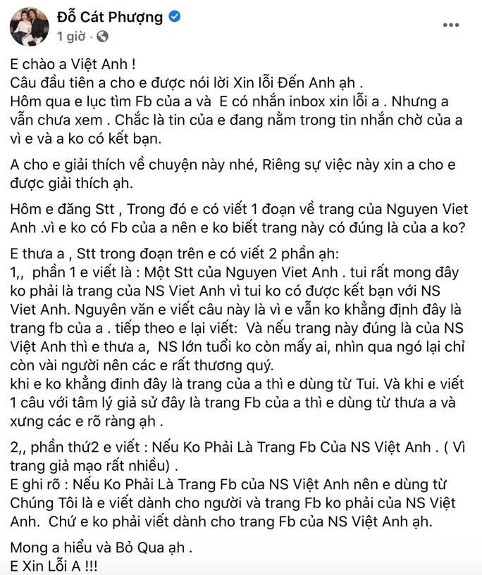 Cát Phượng chính thức xin lỗi NSND Việt Anh sau phát ngôn gây tranh cãi - Ảnh 1
