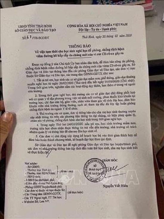 Sở GD&ĐT tỉnh Thái Bình bác thông tin cho học sinh nghỉ học đến ngày 31/3 - Ảnh 1