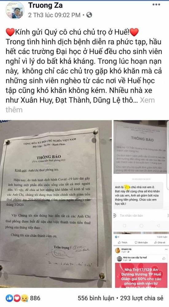 Thương sinh viên mùa dịch, thầy giáo ở Huế viết gửi các chủ nhà trọ - Ảnh 1