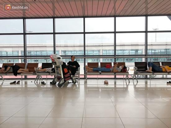 Ùn tắc ở sân bay Nội Bài: Hành khách mệt mỏi chờ đợi, nằm vạ vật chờ check in - Ảnh 8