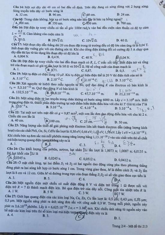 Đáp án, đề thi môn Vật lý mã đề 212 tốt nghiệp THPT 2020 chuẩn nhất, chính xác nhất - Ảnh 4