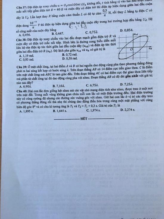 Đáp án, đề thi môn Vật lý mã đề 212 tốt nghiệp THPT 2020 chuẩn nhất, chính xác nhất - Ảnh 6