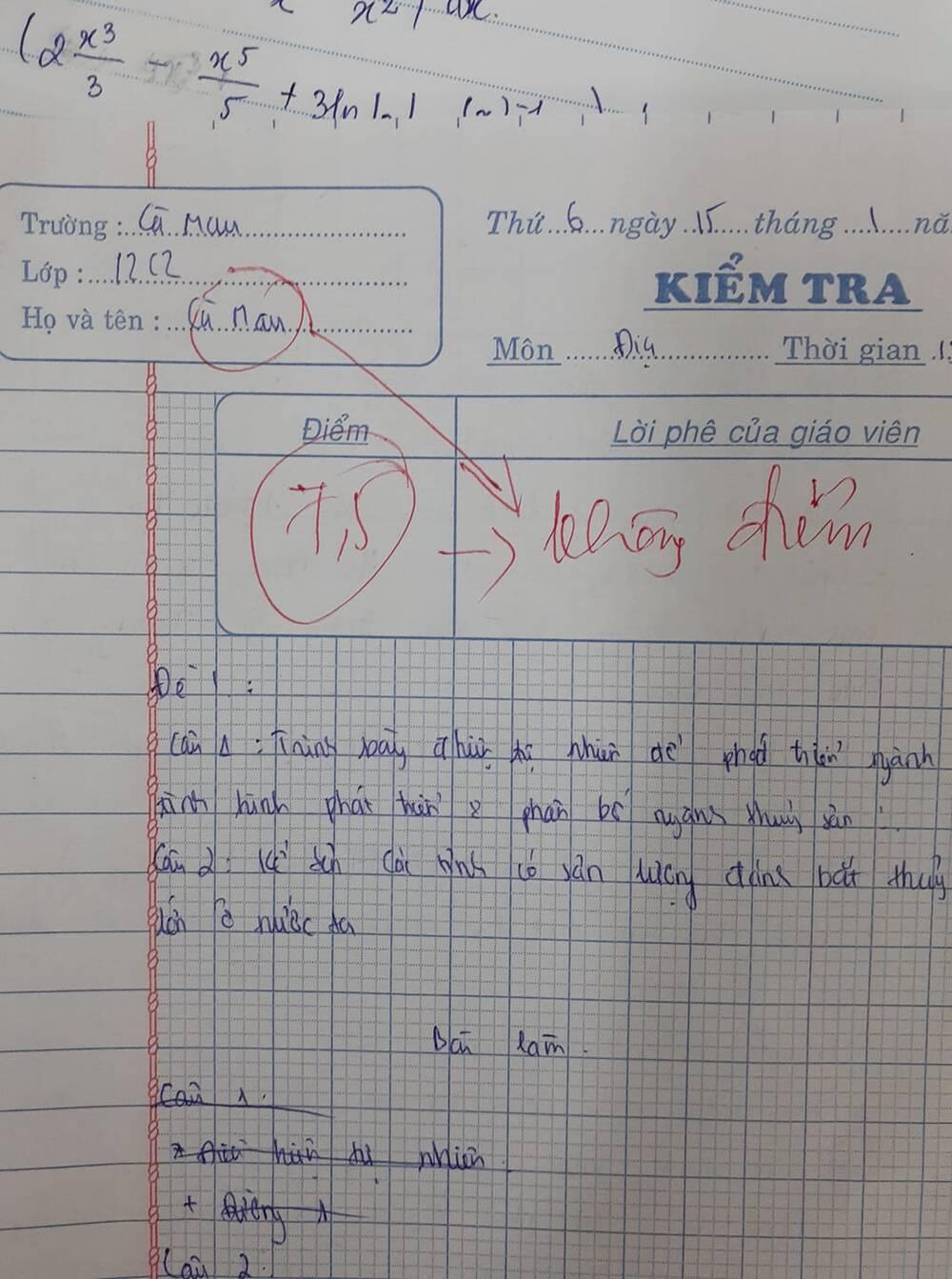 """Mắc phải lỗi ngớ ngẩn trong bài thi, nam sinh Cà Mau bị cô giáo trừ """"không còn điểm nào"""" - Ảnh 1"""