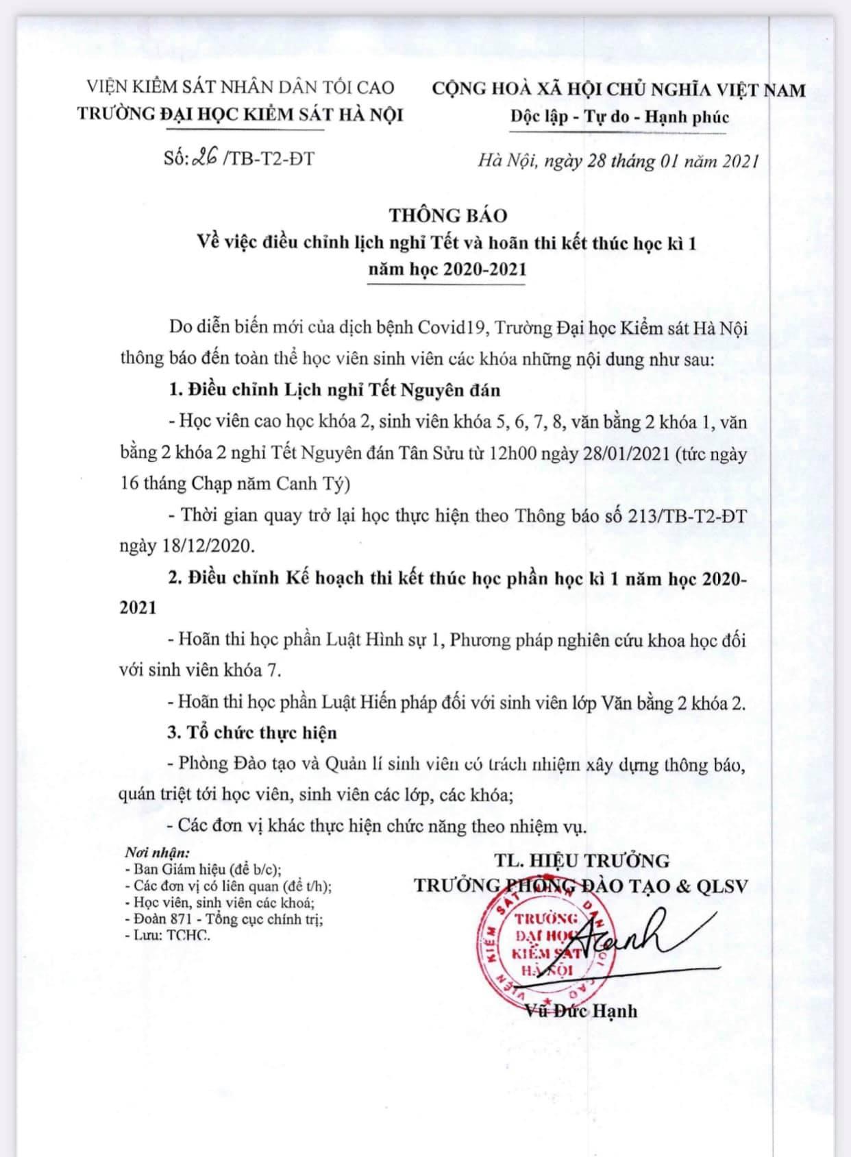 ĐH Kiểm sát Hà Nội cho sinh viên nghỉ Tết sớm, hoãn thi kết thúc học kỳ vì dịch COVID-19 - Ảnh 1