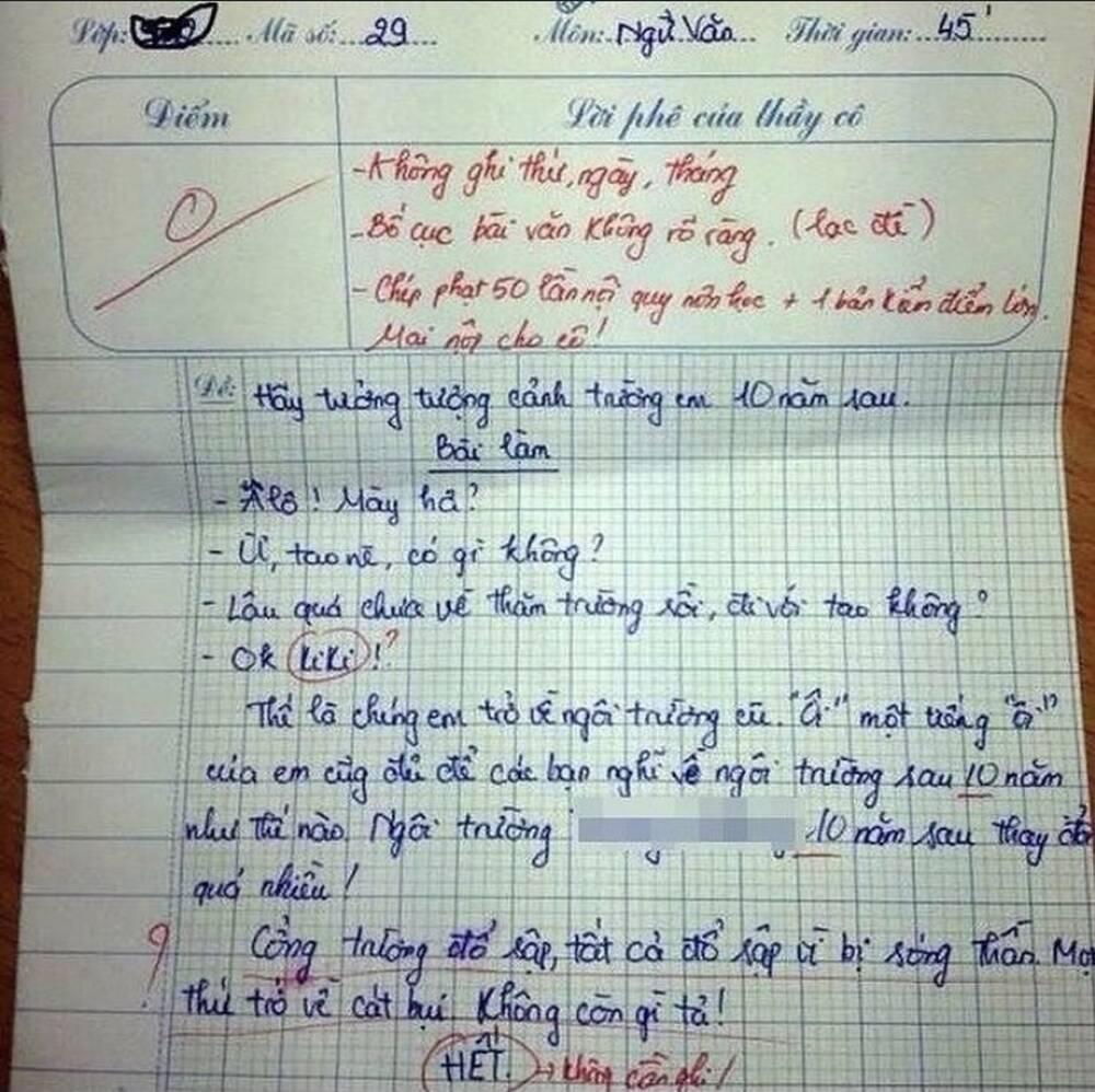 """Viết văn tả về trường cũ, cậu học trò có """"IQ vô cực"""" bị cô giáo bắt chép phạt 50 lần - Ảnh 1"""