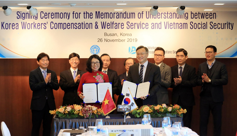 BHXH Việt Nam ký kết Bản ghi nhớ hợp tác với cơ quan Phúc lợi và đền bù cho người lao động Hàn Quốc giai đoạn 2020-2025  - Ảnh 1