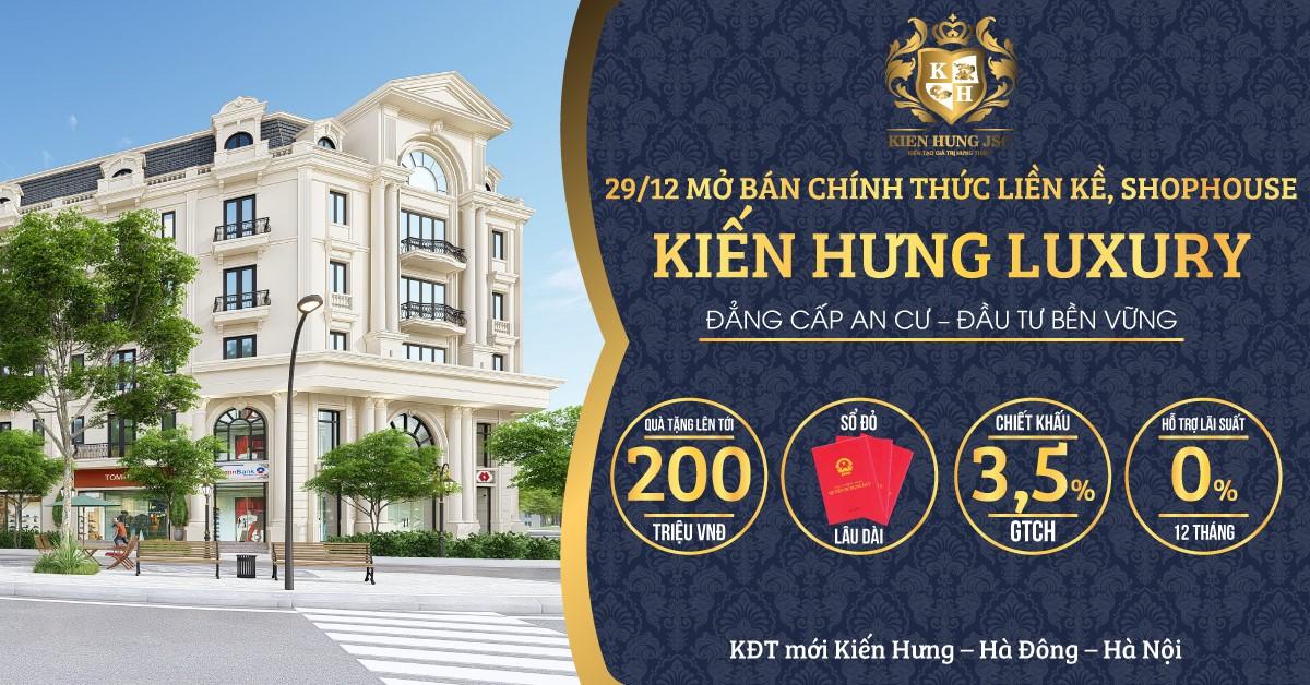 Mở bán chính thức liên kế, shophouse Kiến Hưng Luxury - Ảnh 1