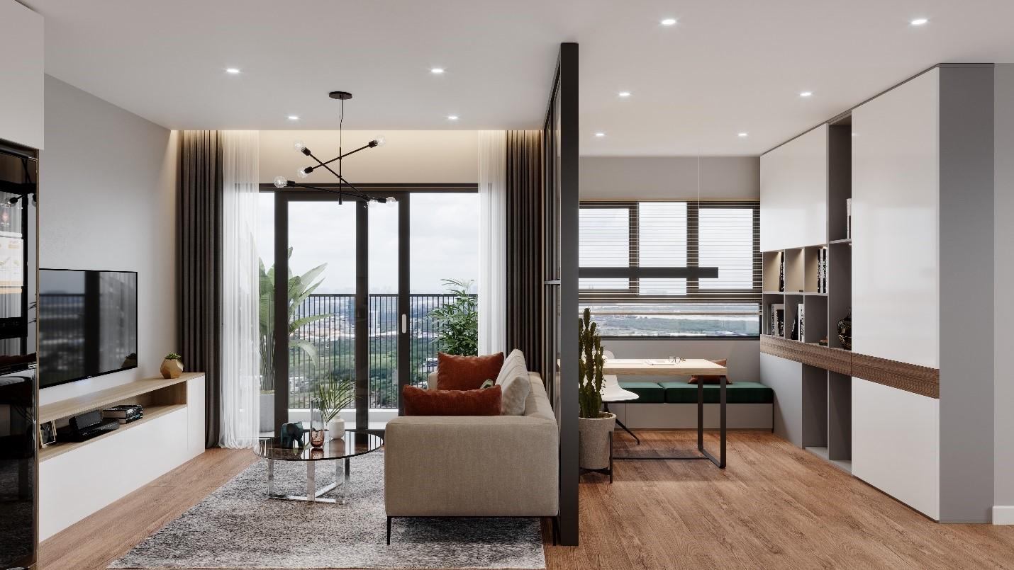 Thiết kế căn hộ 2 phòng ngủ cực thông minh cho vợ chồng trẻ - Ảnh 2