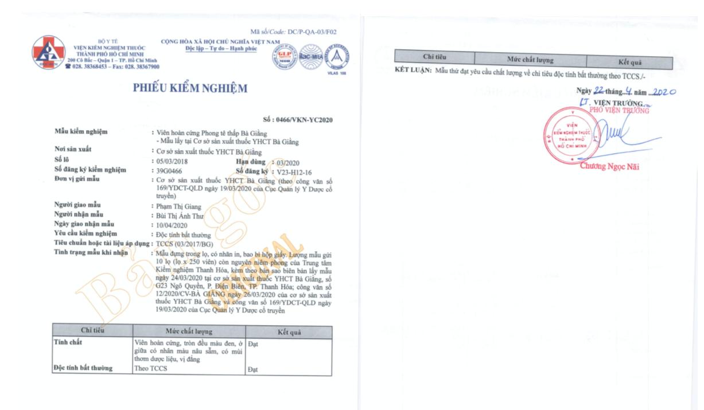 Kết quả kiểm nghiệm trên 02 mẫu bổ sung khảng định chất lượng thuốc Phong tê thấp Bà Giằng  - Ảnh 2