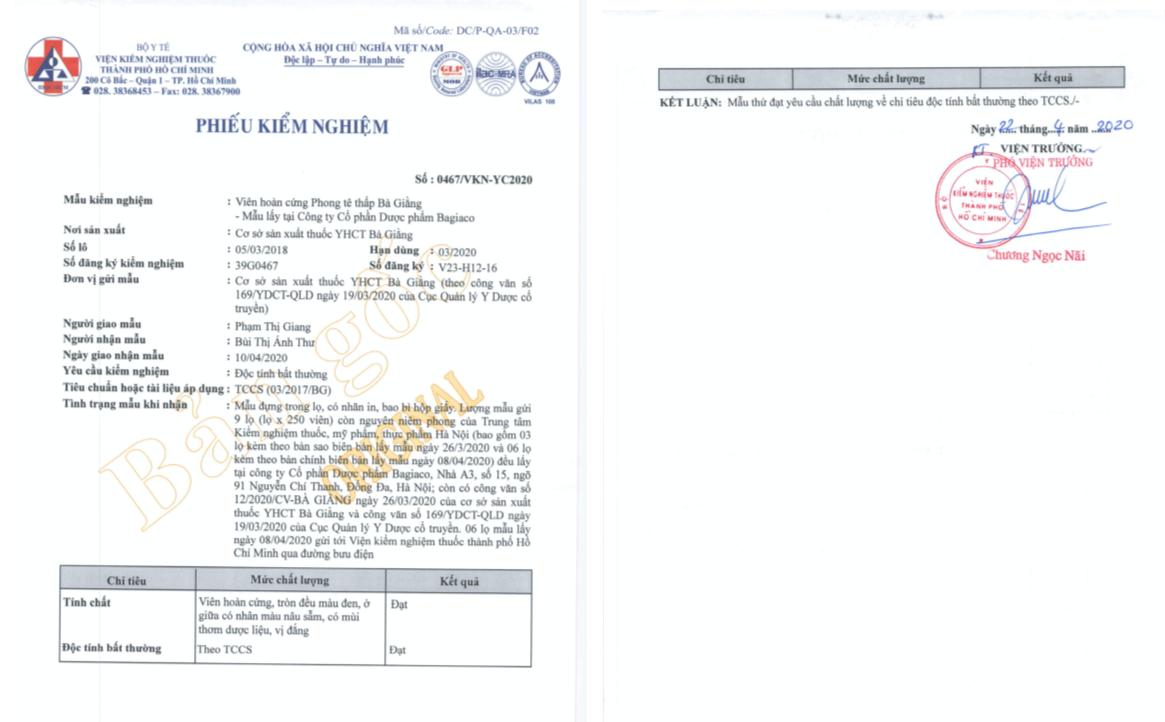 Kết quả kiểm nghiệm trên 02 mẫu bổ sung khảng định chất lượng thuốc Phong tê thấp Bà Giằng  - Ảnh 3