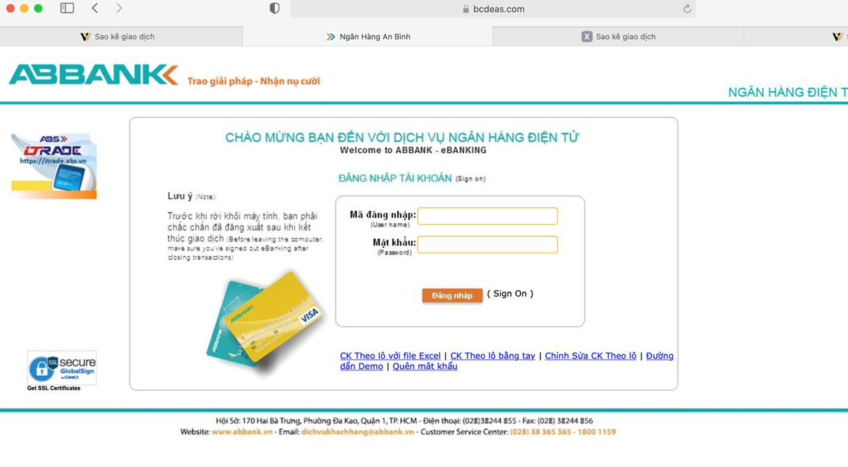 ABBank khuyến cáo khách hàng về hành vi giả mạo Website ngân hàng để lừa đảo chiếm đoạt tài sản - Ảnh 1