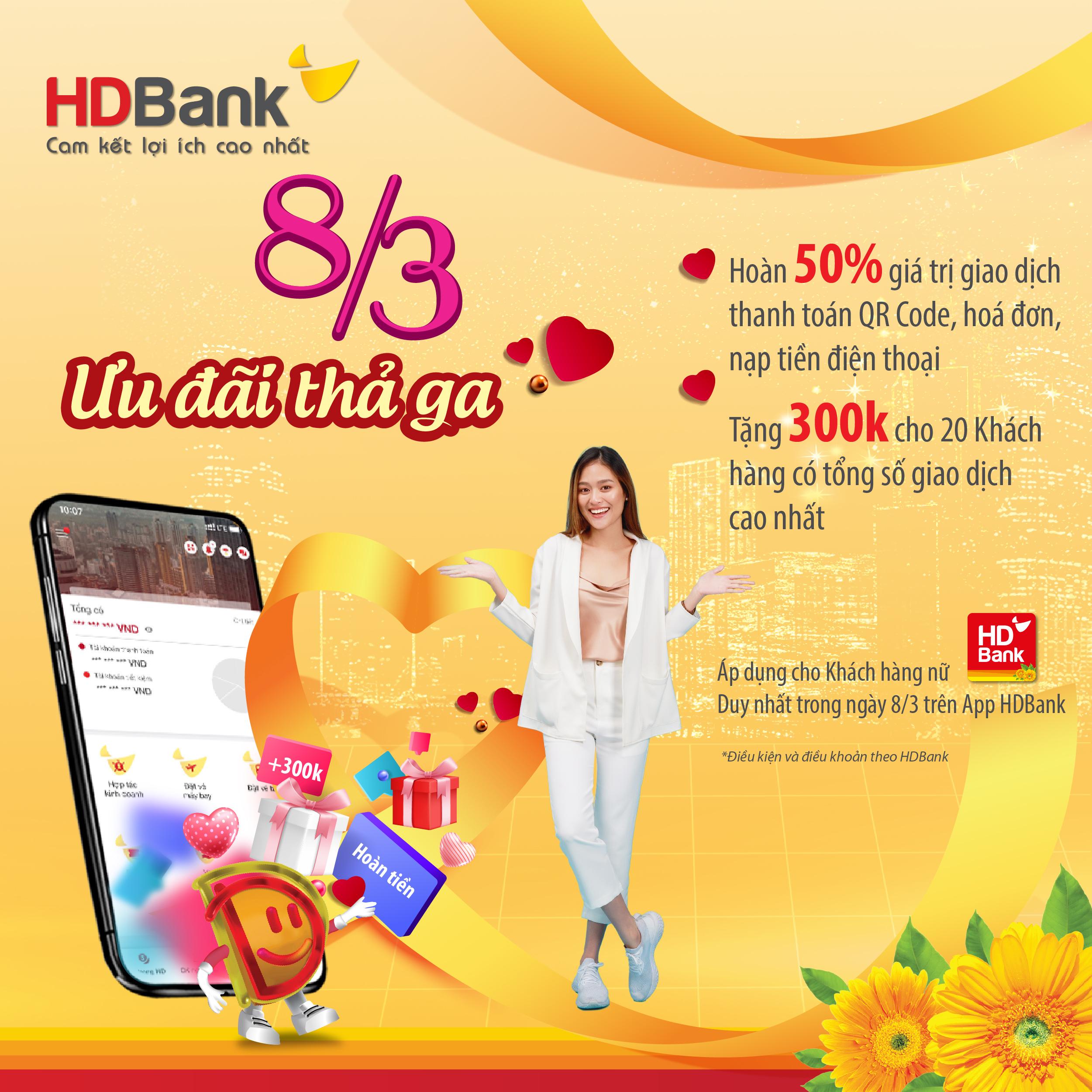 HDBank ưu đãi hàng loạt dịch vụ, quà tặng đến khách hàng dịp 8/3 - Ảnh 1