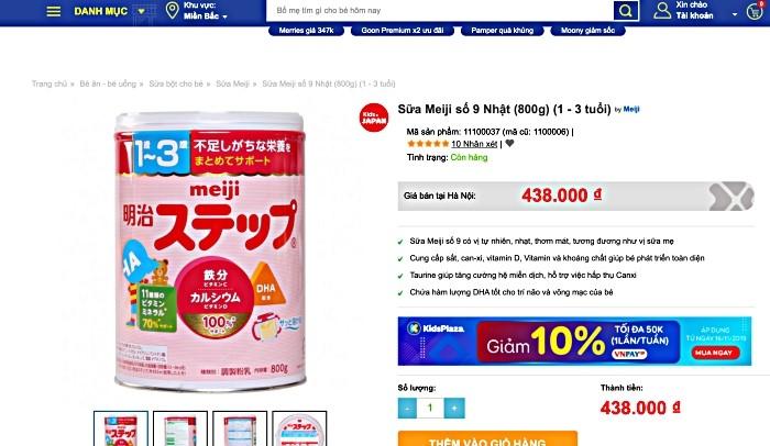Kids Plaza: Bán sữa Meiji nội địa không tem nhãn phụ - Ảnh 2