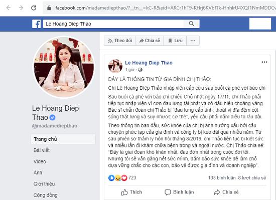 """Bà Lê Hoàng Diệp Thảo xin hoãn phiên tòa vì sức khỏe bị ảnh hưởng bởi """"câu chuyện phức tạp"""" của gia đình - Ảnh 1"""