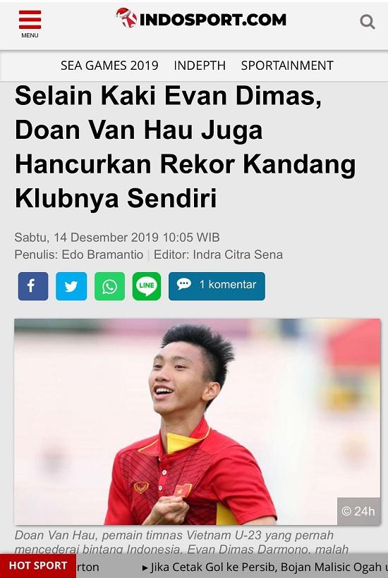 """Báo Indonesia lại """"vừa đấm vừa xoa"""" trước thành tích của Văn Hậu - Ảnh 1"""