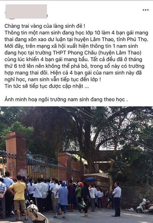 Nam sinh lớp 10 khiến bạn gái có thai ở Phú Thọ được nhà trường mời lên làm việc - Ảnh 1