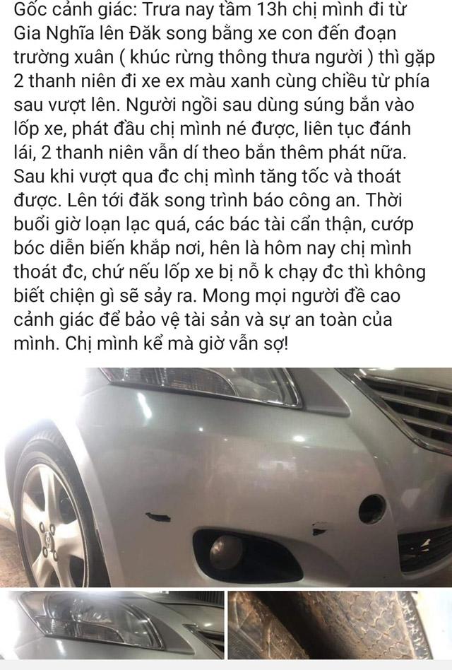 Xác minh thông tin cướp dùng súng rượt đuổi ô tô giữa ban ngày như phim hành động ở Đắk Nông - Ảnh 1