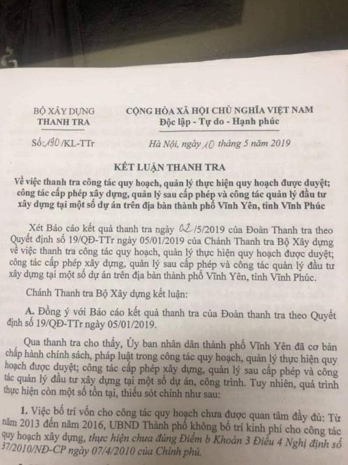 Kết luận thanh tra số 190/KL-TTr về những sai phạm tại TP. Vĩnh Yên. Ảnh: Tiền Phong