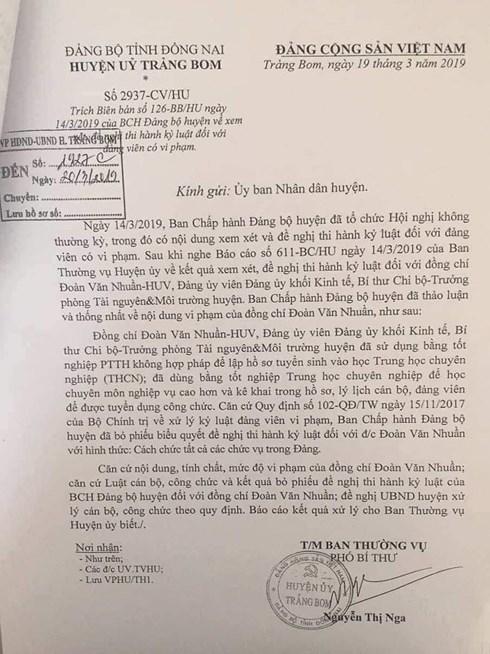 Đồng Nai: Dùng bằng giả, Trưởng phòng TN&MT bị kỷ luật cho thôi việc - Ảnh 1