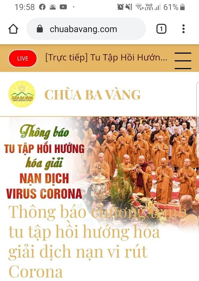 """Tổ chức tu tập hồi hướng """"hóa giải"""" virus Corona: Trụ trì chùa Ba Vàng bị xử lý - Ảnh 1"""
