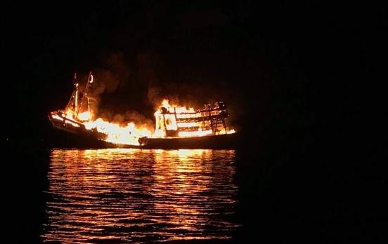 Quảng Ngãi: Tàu câu mực của ngư dân bị thiêu rụi trong đêm, thiệt hại nhiều tỷ đồng - Ảnh 1