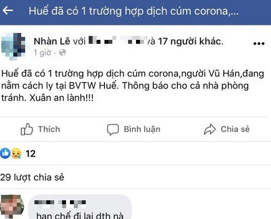 Huế: Nghe tin đồn về virus corona từ chợ rồi tung lên Facebook, người phụ nữ bị phạt 12,5 triệu đồng - Ảnh 1