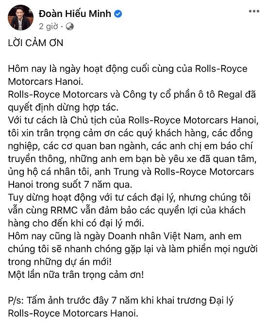 Nhà phân phối của Rolls-Royce tại Việt Nam dừng hoạt động - Ảnh 1