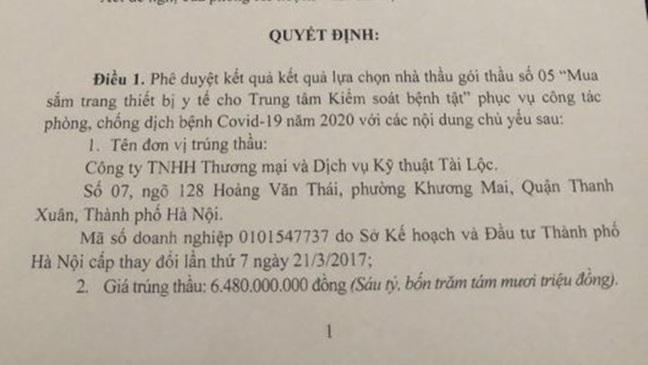 Công an làm rõ việc mua bán máy xét nghiệm Covid-19 của sở Y tế tỉnh Thái Bình - Ảnh 1