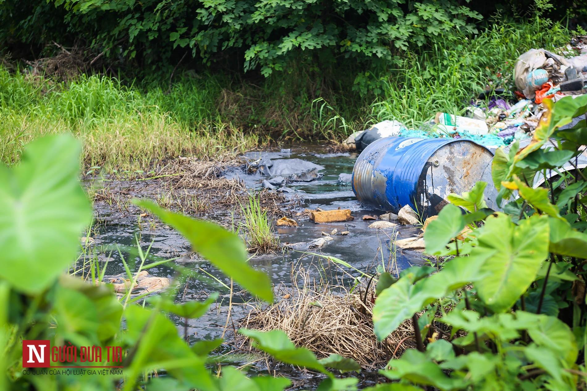 Hàng loạt thùng phuy nghi chứa hóa chất độc hại bị đổ trộm ra Đại lộ Thăng Long - Ảnh 3