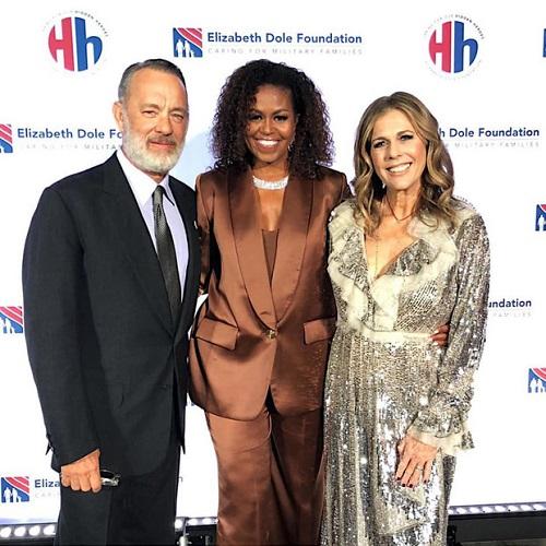 Cựu đệ nhất Phu nhân Tổng thống Mỹ Michelle Obama xuất hiện với bộ suit sang trọng của NTK Công Trí - Ảnh 1