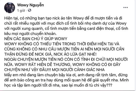 """Wowy gửi lời cảnh cáo gay gắt đến kẻ mạo danh anh đi lừa tiền và """"gây chuyện"""" - Ảnh 2"""