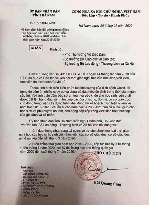 Hà Nam: Phạt chủ tài khoản Facebook đăng tải văn bản giả cho học sinh nghỉ học hết tháng 3 - Ảnh 1
