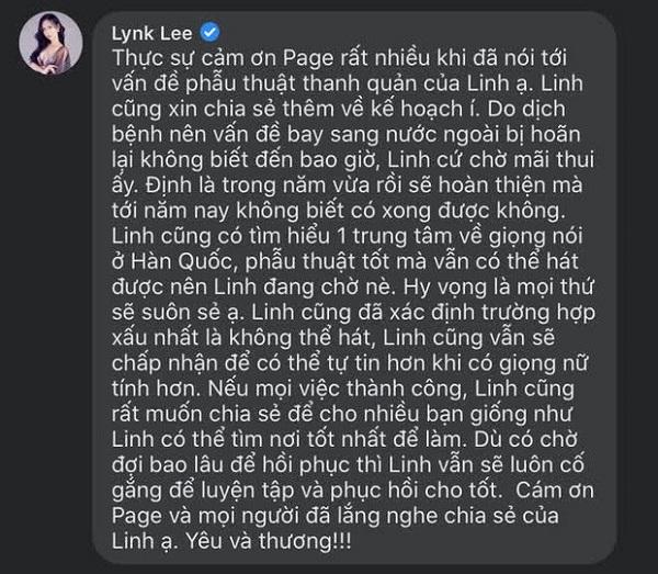 Lynk Lee: Dù mất giọng hát vẫn quyết phẫu thuật thanh quản để nữ tính hơn - Ảnh 2