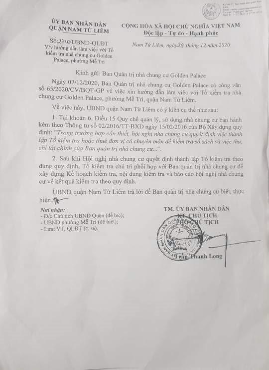 Nam Từ Liêm – Hà Nội:  Cần minh bạch trong thu chi quỹ bảo trì tại tòa nhà Golden Palace - Ảnh 2
