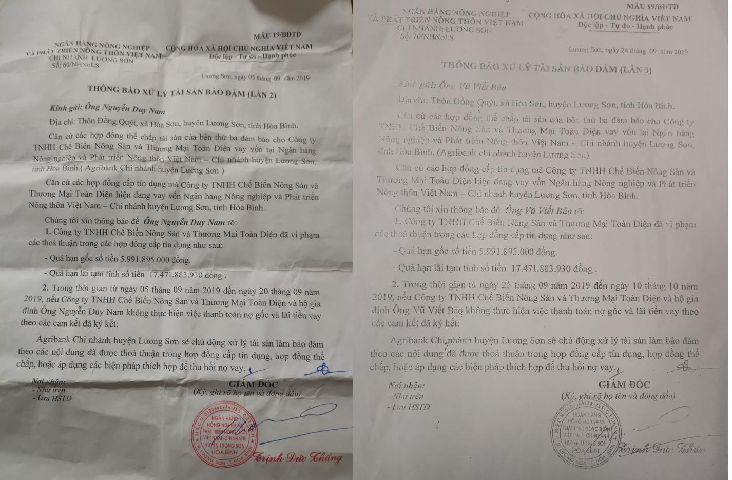 Lương Sơn- Hòa Bình: Không vay ngân hàng, nhiều nông dân nhận giấy báo nợ hàng tỉ đồng - Ảnh 1