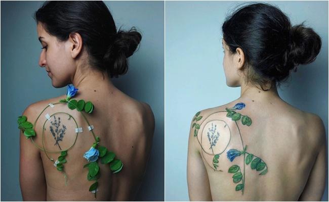 """Biến hoa, lá thành hình xăm độc đáo, nữ nghệ sĩ khiến dân mạng """"ngả mũ bái phục"""" - Ảnh 2"""