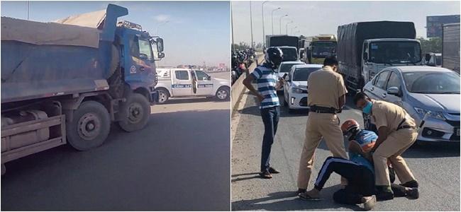 Bắt khẩn cấp tài xế xe ben lạng lách đánh võng, tông xe CSGT Đồng Nai - Ảnh 1