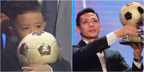 Văn Quyết lần đầu đoạt Quả bóng vàng Việt Nam, con trai ôm chặt giải thưởng của bố - Ảnh 1