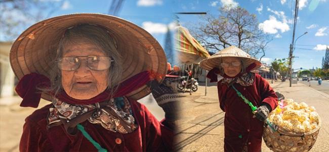 Cảm động hình ảnh cụ bà 94 tuổi vẫn bán bỏng ngô dạo khắp Đà Lạt - Ảnh 1