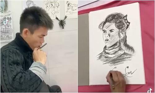 """""""YouTuber chăn bò"""" Soytiet trổ tài hội hoạ, vẽ tranh bạn gái khiến dân mạng bất ngờ - Ảnh 1"""