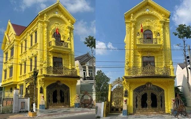 """Ngôi nhà 3 tầng nhìn xa cứ ngỡ """"dát vàng"""", hóa ra sơn nguyên màu chói mắt này - Ảnh 1"""