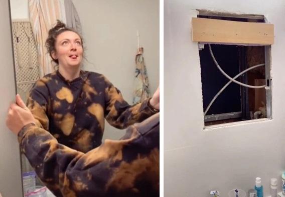Kiểm tra nhà tắm, cô gái phát hiện cảnh tượng hãi hùng sau tấm gương, dân mạng nghẹt thở theo dõi - Ảnh 1