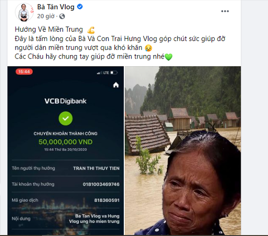 Mẹ con bà Tân Vlog gửi 50 triệu đồng ủng hộ miền Trung, dân mạng tỏ thái độ không hài lòng - Ảnh 1