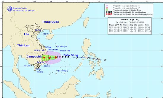 Bão số 12 di chuyển nhanh, gây mưa lớn cho các tỉnh miền Trung và Nam Trung Bộ  - Ảnh 1