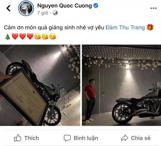 """Cường Đô La khoe quà Giáng sinh """"sang-xịn"""" từ bà xã Đàm Thu Trang  - Ảnh 1"""