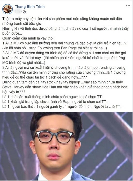 """Trịnh Thăng Bình lên tiếng bênh vực Trấn Thành trước xôn xao làm MC """"Rap Việt""""  - Ảnh 3"""