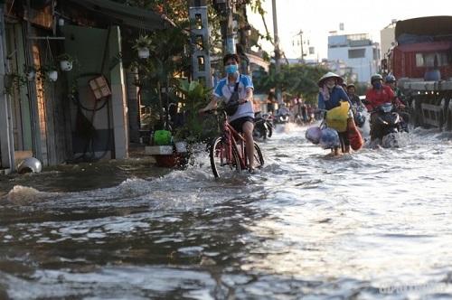 Triều cường ở TP.HCM đạt đỉnh, người dân bì bõm lội nước bì bõm giờ tan tầm - Ảnh 4