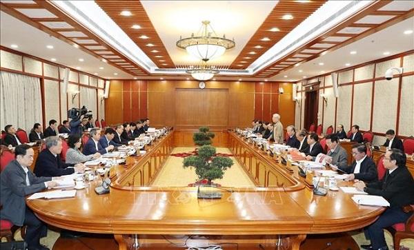 Tổng Bí thư, Chủ tịch nước chủ trì họp tiếp thu ý kiến hoàn thiện các dự thảo văn kiện của Đảng - Ảnh 6