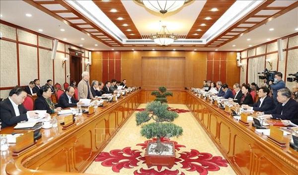Tổng Bí thư, Chủ tịch nước chủ trì họp tiếp thu ý kiến hoàn thiện các dự thảo văn kiện của Đảng - Ảnh 7