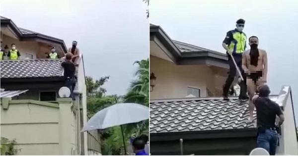 Tên trộm bị chó dọa trốn lên tận mái nhà, tình cảnh lúc bị bắt không thể thê thảm hơn - Ảnh 1